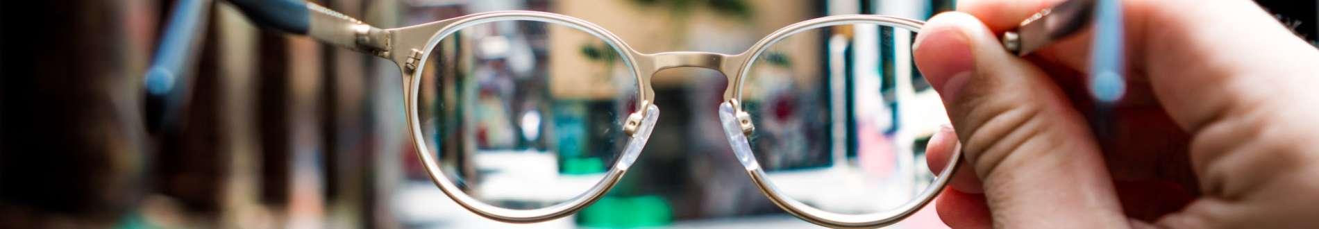 Eye glasses that help see a city street