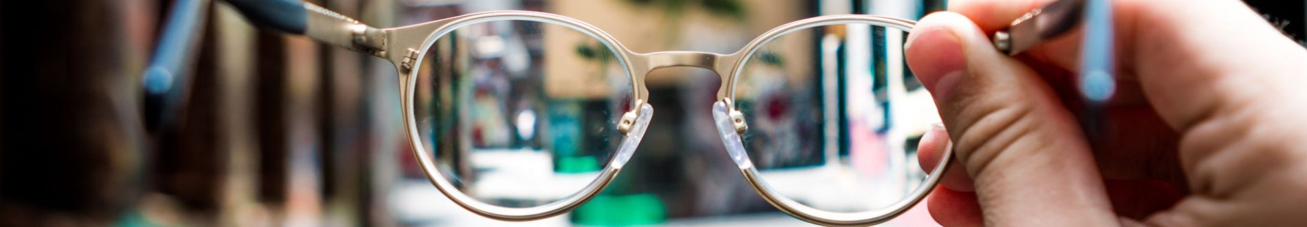 Eye glasses that help see a city street