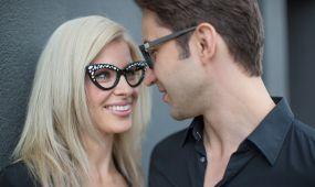couple wearing retro frames