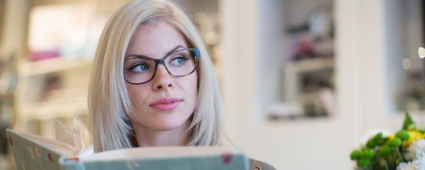 woman wearing contemporary frames