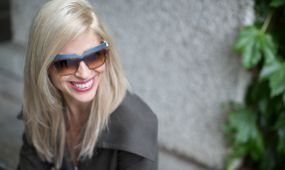 woman wearing contemporary sunglasses