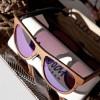 wood frame sunglasses closeup