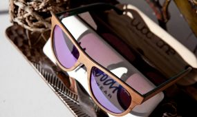 wood frame sunglasses closeup